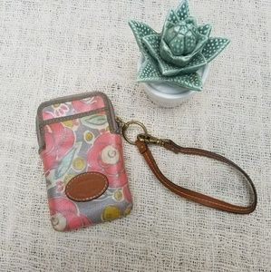 Fossil Floral Coated Canvas Keyper Wristlet Wallet